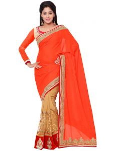Indian Women Pink And Beige Color Georgette Jacqucard Party Wear Saree (code - Inwht70119-mm)