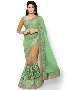 Indian Women Glitter Georgette Green And Beige Color Half Saree (code - Inwht71001-mm)