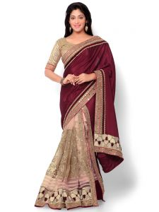 Women's Clothing ,Women's Accessories ,Womens Footwear  - Indian Women Satin Chiffon Maroon And Pink Color Half Saree (Code - Inwht71004-Mm)