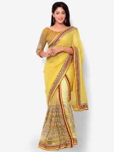Indian Women Glitter Georgette Yellow Color Half Saree (code - Inwht71005-mm)