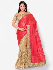 Indian Women Glitter Jaquard Pink And Beige Color Half Saree (code - Inwht71006-mm)