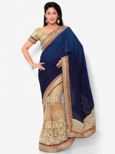 Indian Women Crape Jaquard Dark Blue And Beige Color Full Saree (code - Inwht71007-mm)