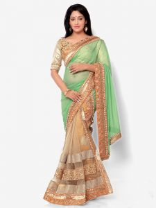 Indian Women Glitter Georgette Green And Beige Color Half Saree (code - Inwht71009-mm)