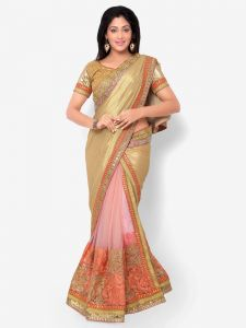 Indian Women Glitter Crape Gold And Pink Color Half Saree (code - Inwht71015-mm)