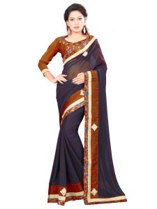 Indian Women Black Color Georgette Full Saree. (code - Inwic11208-mm)