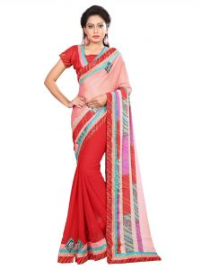 Indian Women Pink And Red Color Crape Half Saree (code - Inwic11231-mm)