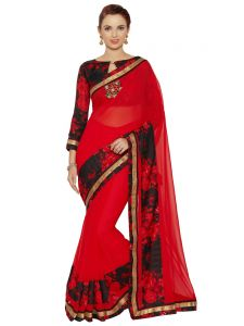 Georgette Sarees - Indian Women Red Georgette Saree (Code - Inwic11344-Mm)