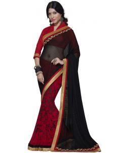Net Jacquard Black And Red Designer Saree (code - Inwic40228-mm)