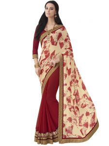 Beige Georgette Print Half And Half Party Wear Sarees (code - Inwic40303-mm)