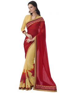 Red Georgette Print Half And Half Party Wear Saree (code - Inwic40305-mm)