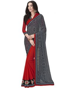 Charcoal Georgette Print Half And Half Designer Saree (code - Inwic40320-mm)
