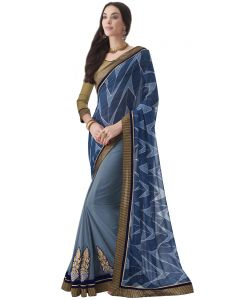 Blue Georgette Print Half And Half Designer Sarees (code - Inwic40323-mm)