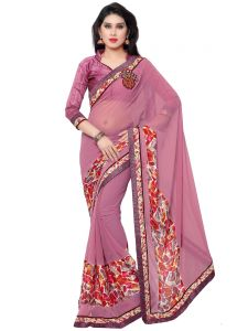 Indian Women Chiffon Georgette Pink Color Saree (code - Inwic40412-mm)