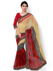 Indian Women Georgette Print Beige Color Half And Half Saree (code - Inwic40500-mm)