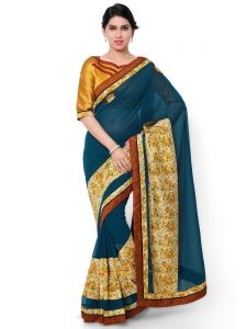 Indian Women Georgette Blue Color Half And Half Saree (code - Inwic40507-mm)