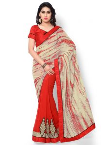 Indian Women Georgette Print Multi Color Half And Half Saree (code - Inwic40519-mm)