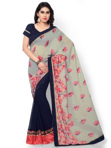 Indian Women Jaquard Print Grey Color Half And Half Saree (code - Inwic40521-mm)
