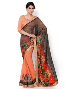 Indian Women Satin Georgette Print Multi Color Half And Half Saree (code - Inwic40522-mm)