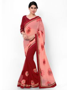 Indian Women Georgette Print Pink Color Half And Half Saree (code - Inwic40525-mm)