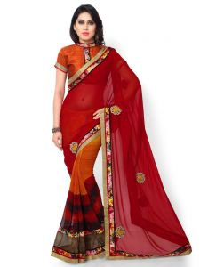 Indian Women Georgette Multi Color Half And Half Saree (code - Inwic40527-mm)
