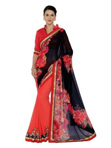 Indian Women Black And Pink Georgette Saree (code - Inwma32055-mm)