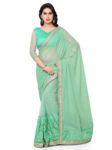 Sudarshan Silks Women's Clothing - Indian Women Green Color Georgette Saree (Code - Inwmg12308-Mm)