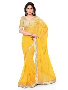Sudarshan Silks Women's Clothing - Indian Women Yellow Color Georgette Saree (Code - Inwmg12310-Mm)