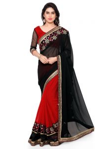 Indian Women Black Color Georgette Saree (code - Inwmg12311-mm)