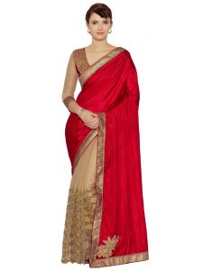 Indian Women Red And Beige Fancy Fabrics Net And C/n Paper Silk Saree (code - Inwmg12610-mm)
