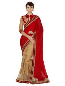 Indian Women Red And Gold Fancy Fabrics And C/n Paper Silk Saree (code - Inwmg12616-mm)