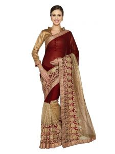 Indian Women Maroon And Gold Marble Chiffon And Fancy Net Saree (code - Inwmg30064-mm)
