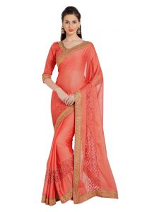 Indian Women New Designer Saree Pink Chiffon (code - Inwmg30105-mm)