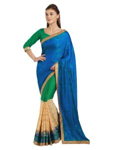 Indian Women Multi Color Chinese Chiffon And C/ N Jacquard Saree (code - Inwpl20707-mm)