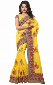 Sudarshan Silks Yellow Dupion Silk Saree Sp_klk55001