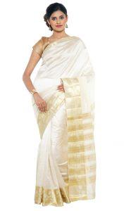 Sudarshan Silks Sudarshan Rawsilk White Saree - (code -kspl227)