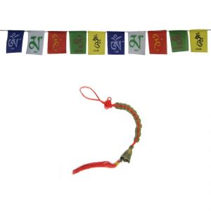 Set Of Tibetan Multi Colour Flag & 12 Coin Hanging Bell For Good Luck