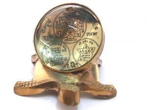 Shri Yantra Kuber Yantra And Vyapaar Vridhi Yantra On Back Of Brass Tortoise