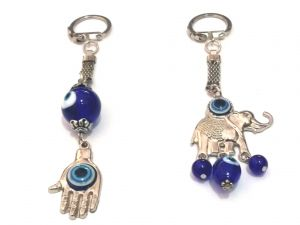 Evil Eye Hamsa Hand And Elephant Key Ring / Chains