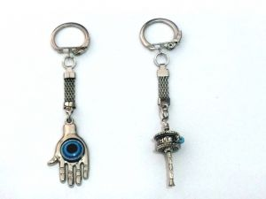 Prayer Wheel And Evil Eye Hamsa Hand Key Ring