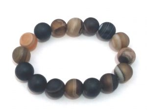 Sulemani Hakik ( Eye Agate ) 12 MM Matte Finish Stretch Bracelet