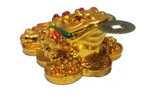 Tri Leg Money Frog On Lucky Coins (golden Polish) Feng Shui Money Todd