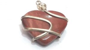Red Jasper Heart Shaped Cage Pendant