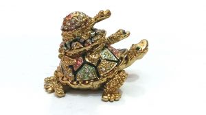 Bejeweled Triple Tortoise Of Harmony And Fortune With 2 Secret Wish Compartment