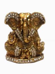 Shree Ganesha Ji Metal Statue Golden Finished With Jerkin Diamonds For Your Car