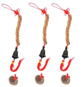 3 Sets Of Fengshui 3 Lucky Coin & 12 Coin Hanging Bell For Good Luck