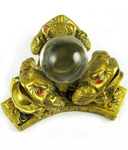 Three Money Frogs With Crystal Ball For Prosperity And Luck