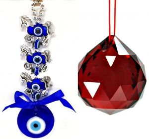 3 Horse Evil Eye Hanging & 40 MM Red Crystal Glass Ball For Good Luck