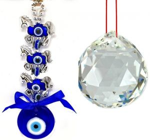 3 Horse Evil Eye Hanging & 40 MM White Crystal Glass Ball For Good Luck