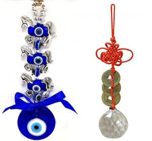 3 Horse Evil Eye & Crystal Ball Hanging For Good Luck