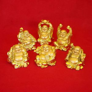 Golden Laughing Buddha 6 Piece Set ( Medium Size )